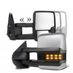 Chevy Silverado 3500HD 2007-2014 Silver Towing Mirrors Smoked LED Signal Lights Power Heated