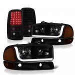 GMC Yukon 2000-2006 Black Smoked Tube DRL Headlights LED Tail Lights