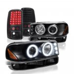 GMC Yukon 2000-2006 Black Halo Projector Headlights and LED Tail Lights