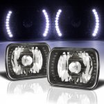 GMC Sierra 1988-1998 White LED Black Chrome Sealed Beam Headlight Conversion