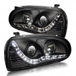 VW Golf 1993-1998 Black Projector Headlights LED DRL