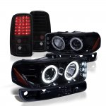 GMC Yukon 2000-2006 Black Smoked Halo Projector Headlights and LED Tail Lights