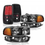 GMC Yukon Denali 2001-2006 Black Headlights and LED Tail Lights