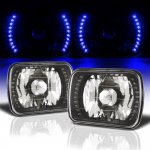 1984 Jeep Pickup Blue LED Black Chrome Sealed Beam Headlight Conversion