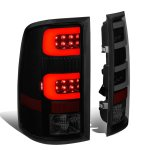 GMC Sierra 2007-2013 Black Smoked Tube LED Tail Lights