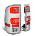 GMC Sierra 2007-2013 Clear LED Tail Lights Red Tube