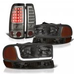 2000 GMC Sierra Smoked Tube DRL Headlights LED Tail Lights