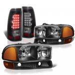 GMC Sierra 3500 2001-2006 Black Headlights and LED Tail Lights