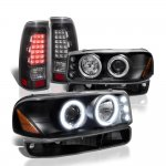 GMC Sierra 1500HD 2001-2006 Black Halo Projector Headlights LED Tail Lights