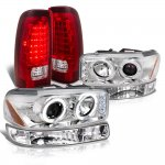 GMC Sierra 2500HD 2001-2006 Halo Projector Headlights LED Tail Lights