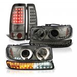 GMC Sierra 1500HD 2001-2006 Smoked Halo Projector Headlights LED Bumper and Tail Lights