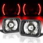 Jeep Wagoneer 1979-1984 Red LED Black Chrome Sealed Beam Headlight Conversion