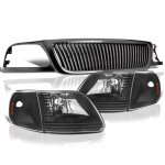 1999 Ford F150 Black Vertical Grille and Headlights Set