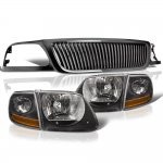 1999 Ford F150 Black Vertical Grille Harley Style Headlights