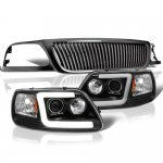 1999 Ford F150 Black Vertical Grille Tube DRL Projector Headlights
