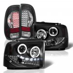 Ford F250 Super Duty 2005-2007 Black Halo Projector Headlights LED Tail Lights Black Chrome