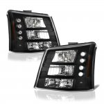 2005 Chevy Silverado 2500HD Black Headlights and Bumper Lights Conversion Set