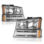 Chevy Avalanche 2003-2005 Clear Euro Headlights and LED Bumper Lights