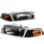 Mitsubishi Mirage Sedan 1997-2001 Black Headlights