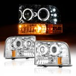 2000 Ford F250 Super Duty Clear Dual Halo Projector Headlights with LED