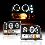 2000 Ford F250 Super Duty Black Dual Halo Projector Headlights with LED