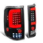 Ford F150 2004-2008 Black Red C-Tube LED Tail Lights