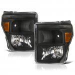 Ford F250 Super Duty 2011-2016 Black Headlights