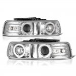 Chevy Silverado 1999-2002 Projector Headlights Chrome Halo LED