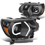 Toyota Tacoma 2012-2015 Black LED Tube DRL Projector Headlights