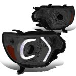 Toyota Tacoma 2012-2015 Smoked LED Tube DRL Projector Headlights