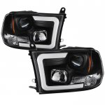 2012 Dodge Ram Black LED Tube DRL Projector Headlights