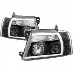 2005 Ford F150 Black LED Tube DRL Projector Headlights