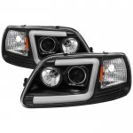 Ford F150 1997-2003 Black Tube DRL Projector Headlights