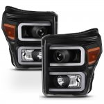 Ford F250 Super Duty Black LED Tube Projector Headlights DRL