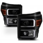 2012 Ford F250 Super Duty Black Smoked LED DRL Projector Headlights