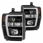 Ford F550 Super Duty 2008-2010 Black Tube DRL Projector Headlights