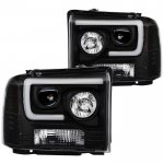 Ford F350 Super Duty 2005-2007 Black Tube DRL Projector Headlights