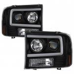 Ford F450 Super Duty 1999-2004 Black Tube DRL Projector Headlights