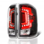 2015 Chevy Silverado Black Custom LED Tail Lights Red Tube