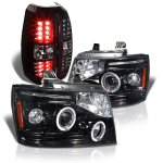2009 Chevy Avalanche Black Halo Projector Headlights and LED Tail Lights