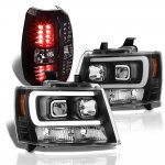 2009 Chevy Avalanche Black Tube DRL Headlights LED Tail Lights