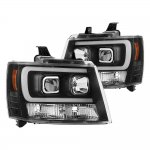 2009 Chevy Avalanche Black LED Tube DRL Projector Headlights