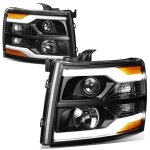 2013 Chevy Silverado 2500HD Black Facelift DRL Projector Headlights