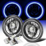 Jeep Cherokee 1974-1978 Blue SMD Halo Black Chrome LED Headlights Kit