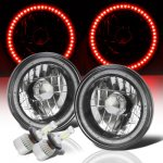 Jeep Cherokee 1974-1978 Red SMD Halo Black Chrome LED Headlights Kit