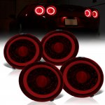 Chevy Corvette C6 2005-2013 Tinted Halo LED Tail Lights Sequential Signals