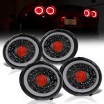 Chevy Corvette C6 2005-2013 Black Angel Eye LED Tail Lights Sequential Signals