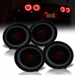 Chevy Corvette C6 2005-2013 Black Smoked Halo LED Tail Lights Sequential Signals