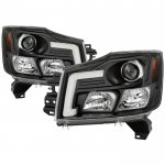 2014 Nissan Titan Black LED Tube DRL Projector Headlights