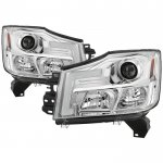 2014 Nissan Titan LED Tube DRL Projector Headlights